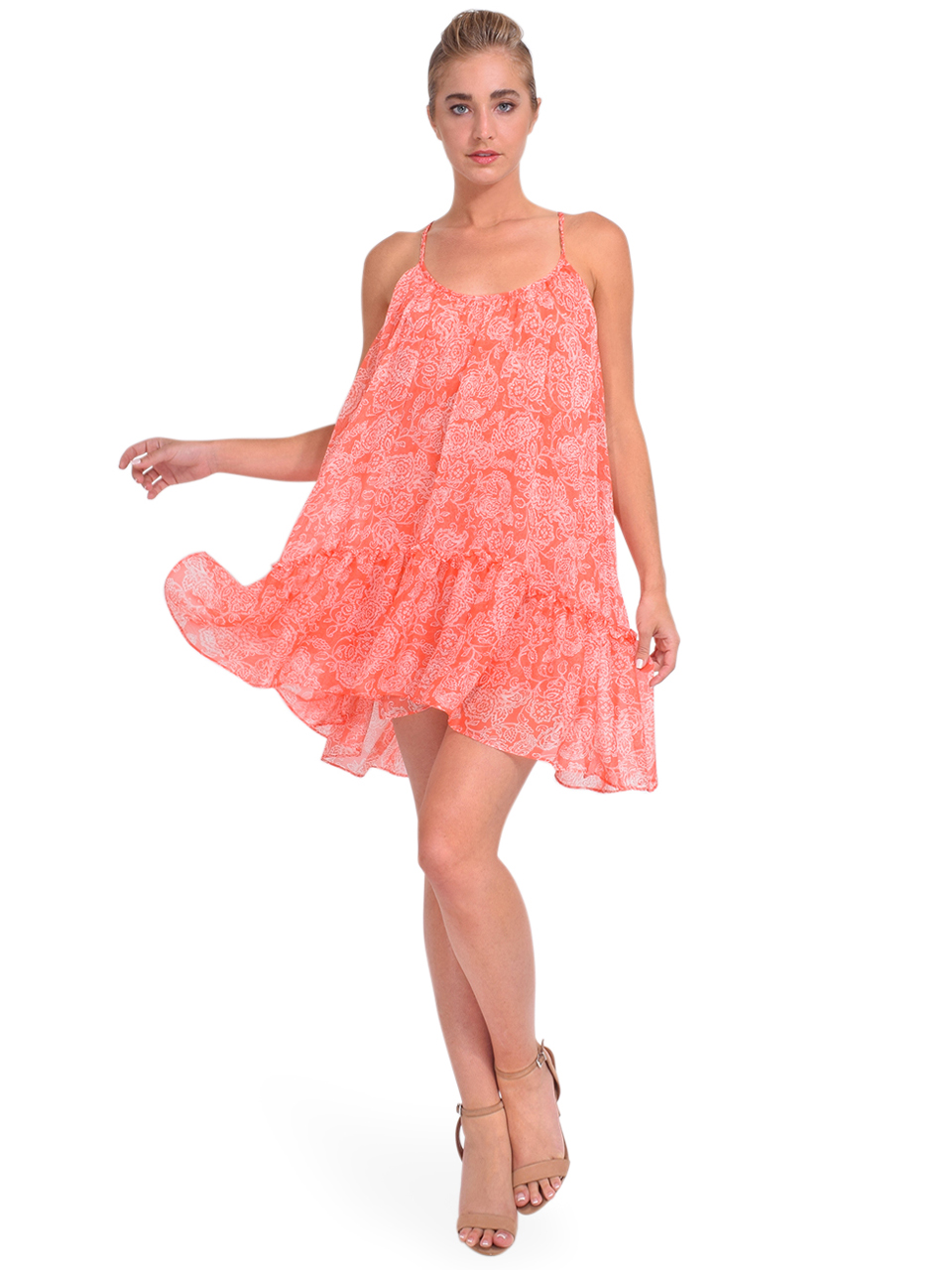 MISA Dahl Mini Dress in Coral Summer Paisley Front View 2