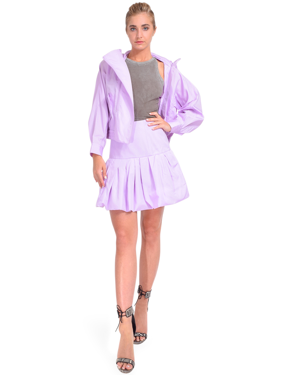 3.1 Phillip Lim Taffeta Hooded Boxing Jacket in Lavender Full Outfit 2