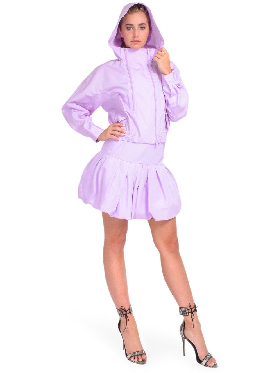 3.1 Phillip Lim Taffeta Hooded Boxing Jacket in Lavender Full Outfit 1