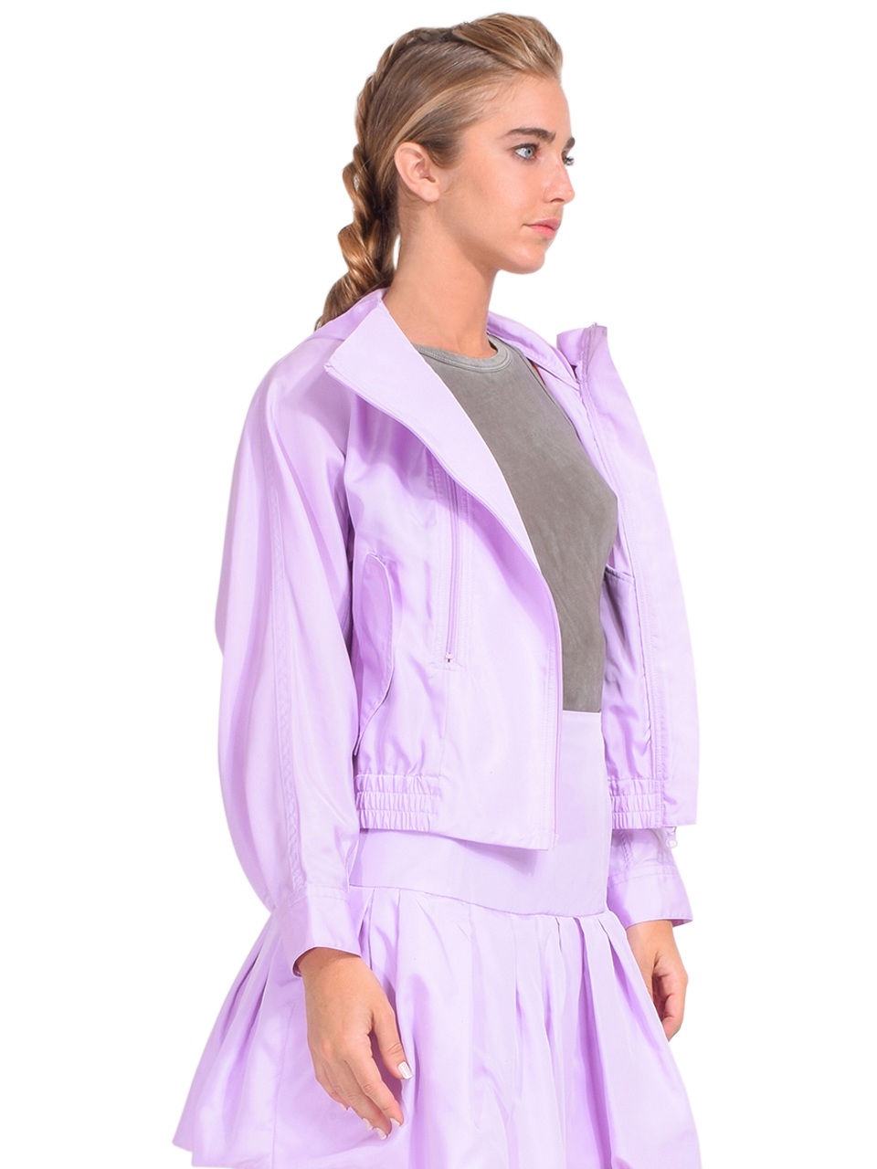 3.1 Phillip Lim Taffeta Hooded Boxing Jacket in Lavender Side View