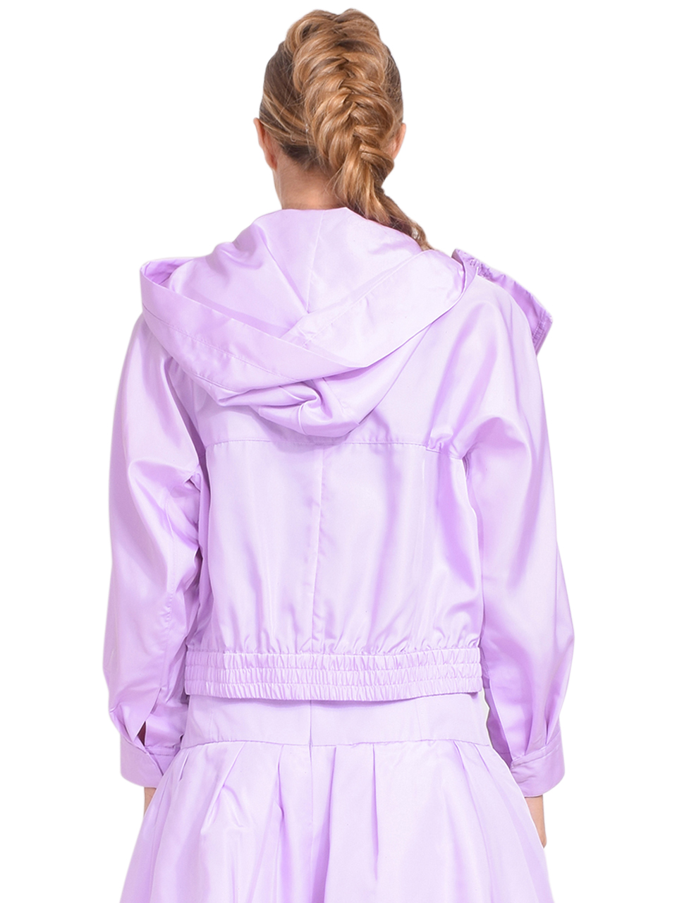 3.1 Phillip Lim Taffeta Hooded Boxing Jacket in Lavender Back View