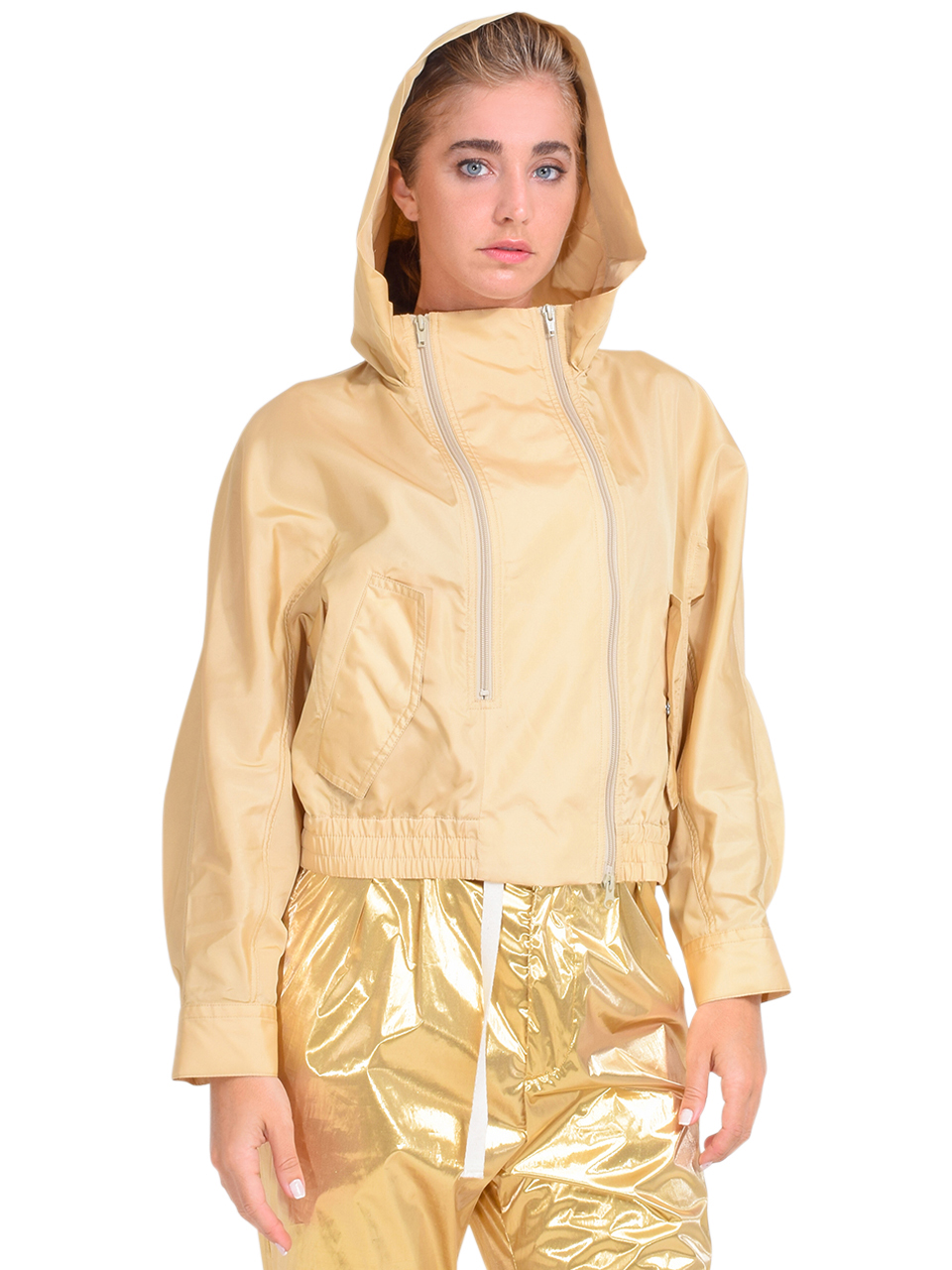 3.1 Phillip Lim Taffeta Hooded Boxing Jacket in Tan Side View with Hood