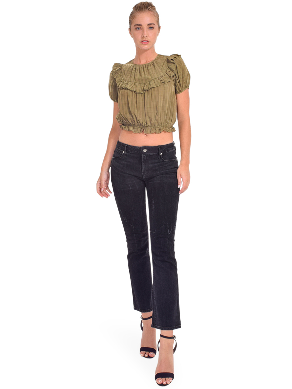 RTA Kiki Cropped Kick Flare in Faded Black Full Outfit