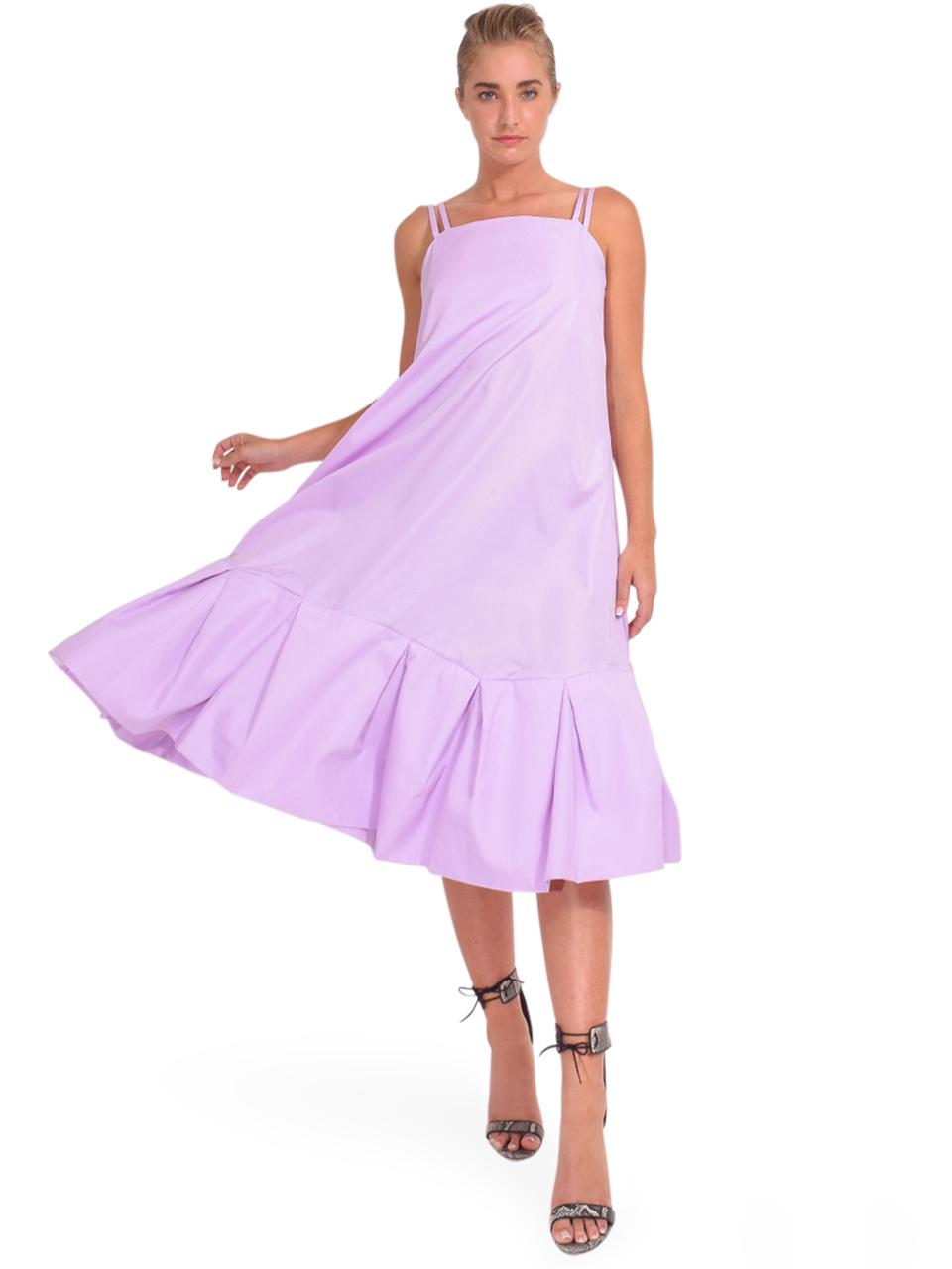 3.1 Phillip Lim Multi Strap A-Line Taffeta Dress in Lavender Full Outfit