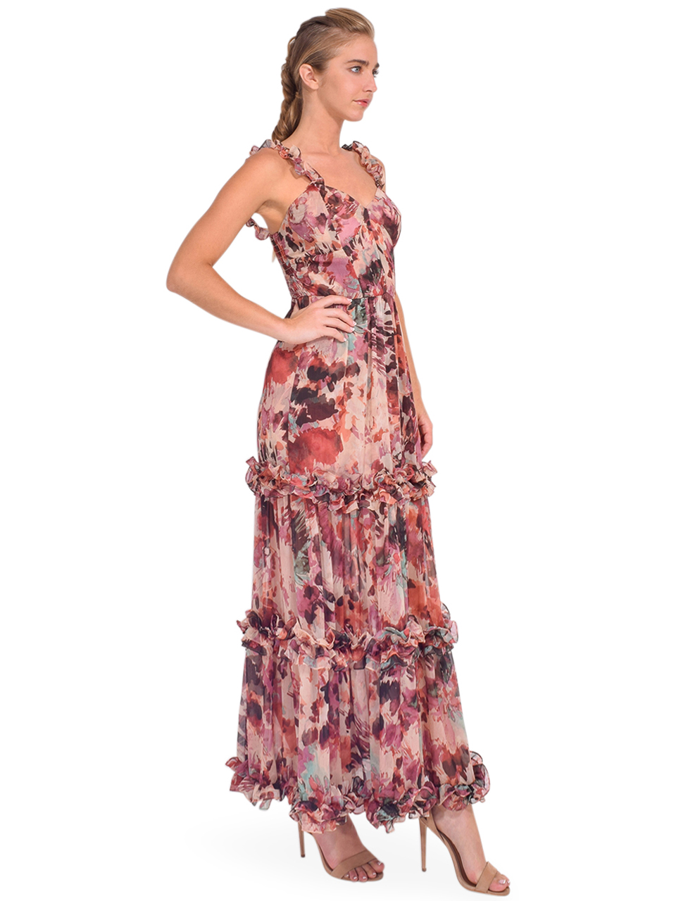 MISA Avery Maxi Dress in Floradream Side View Straps on Shoulder
