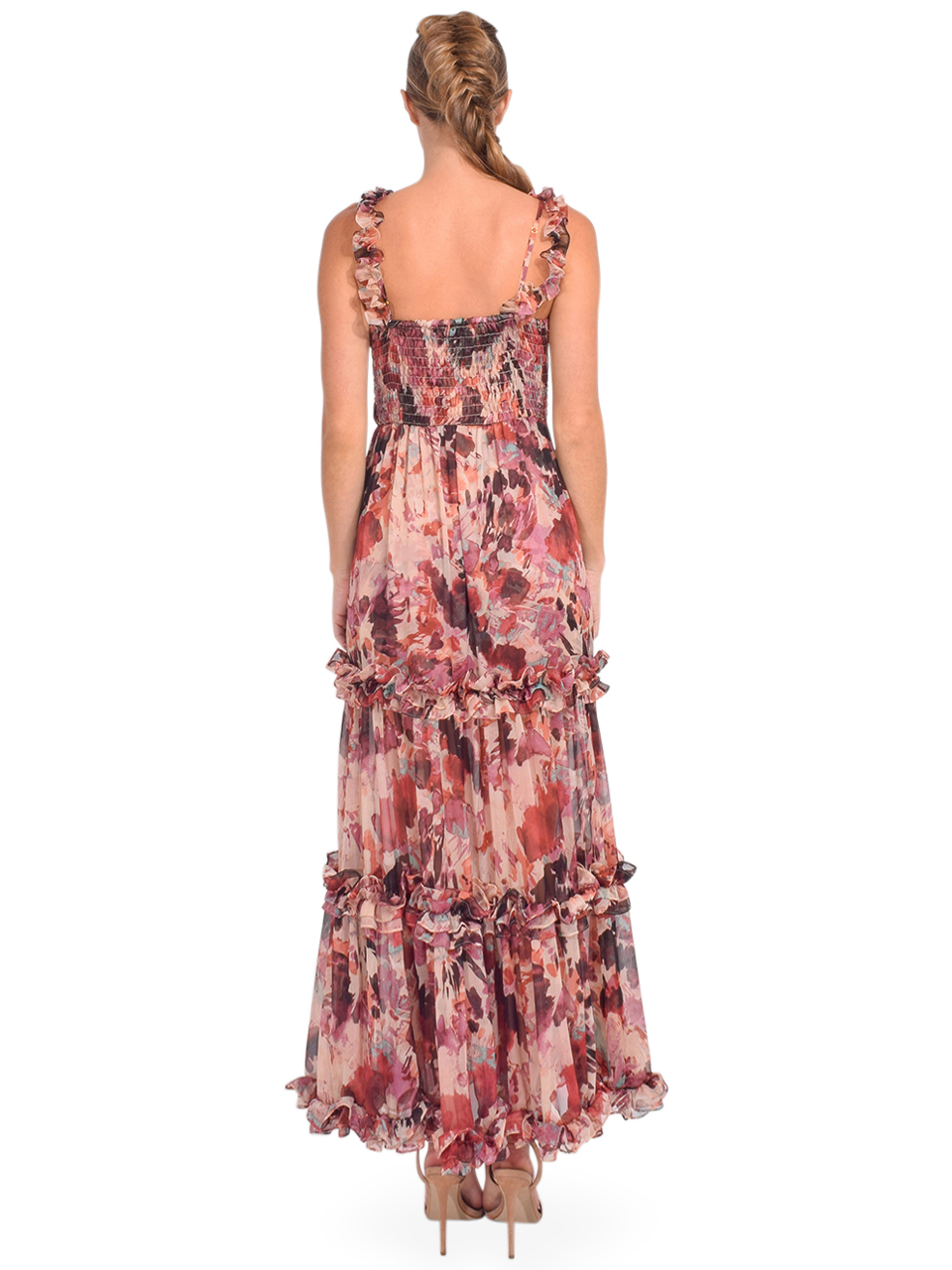 MISA Avery Maxi Dress in Floradream Back View Straps on Shoulder