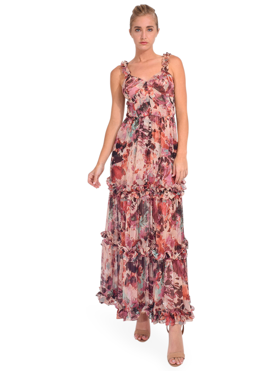 MISA Avery Maxi Dress in Floradream Straps on Shoulder Front View