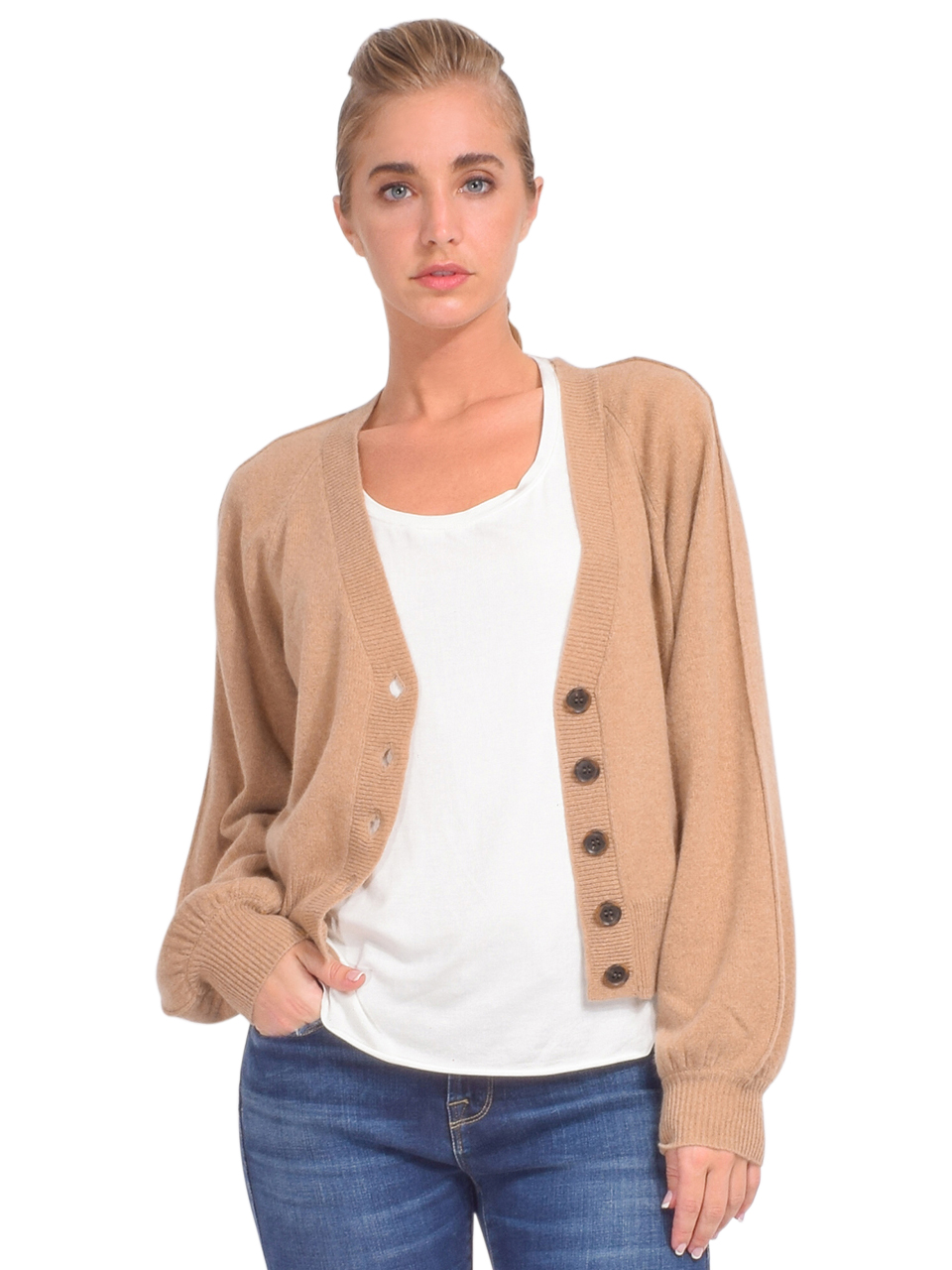 FRAME Linked Cashmere Cardigan in Cafe Au Lait Front View