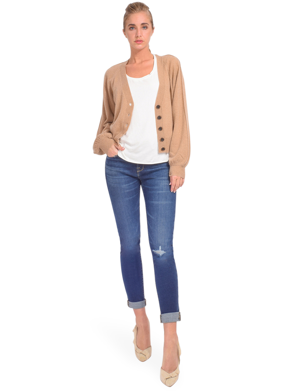 FRAME Le Garcon Straight Leg Jean in Caribou Full Outfit