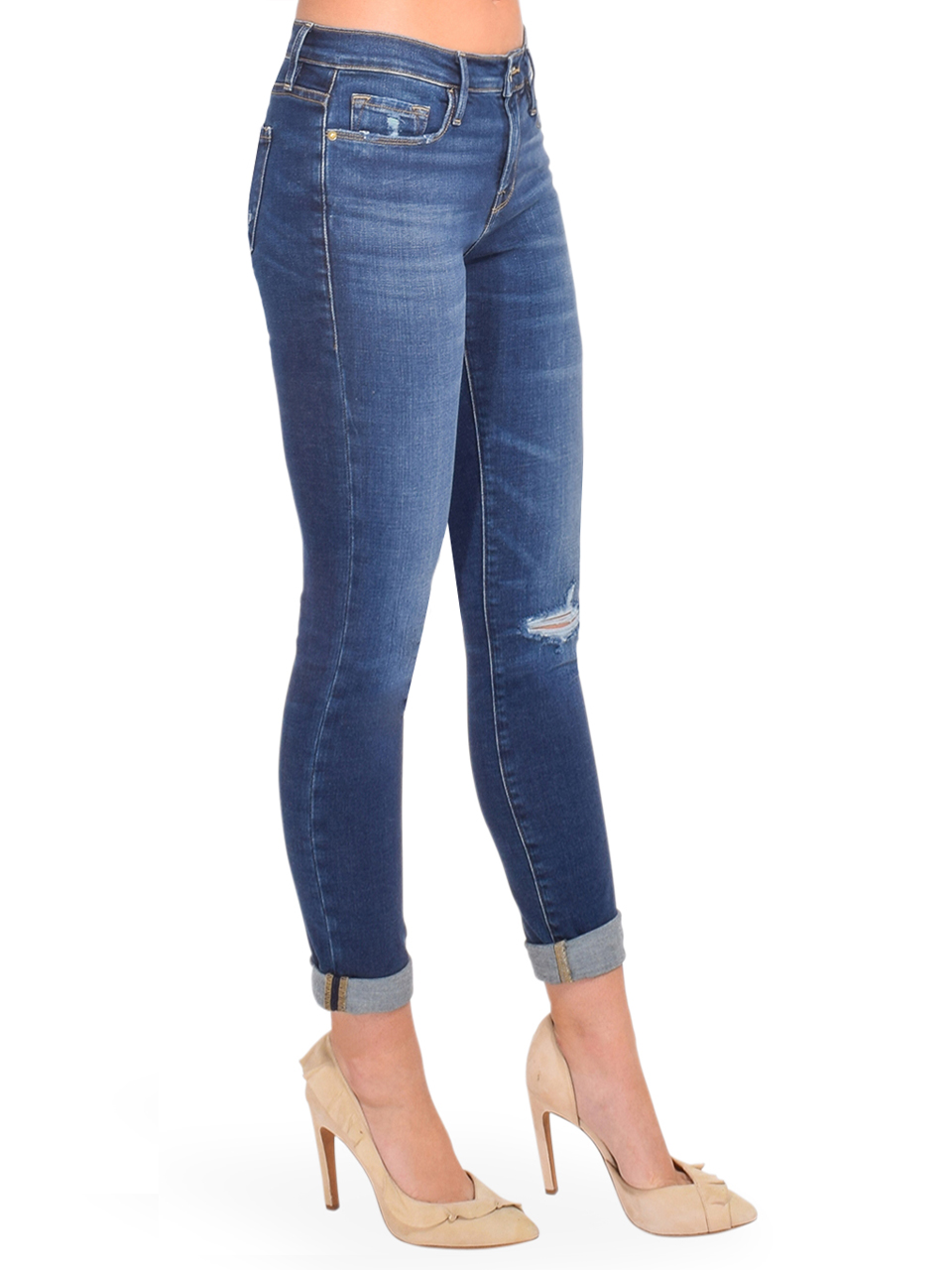 FRAME Le Garcon Straight Leg Jean in Caribou Side View