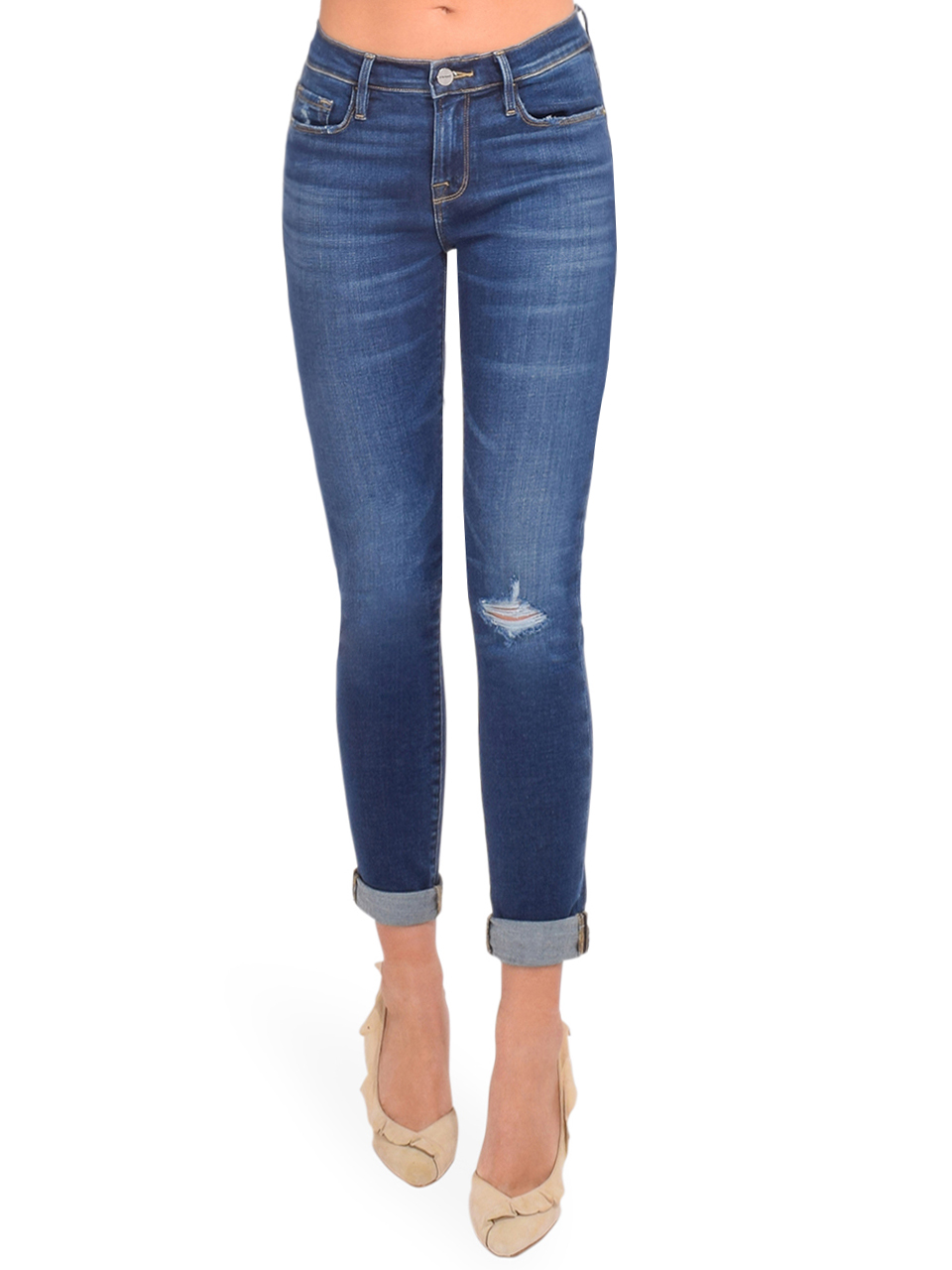 FRAME Le Garcon Straight Leg Jean in Caribou Front View