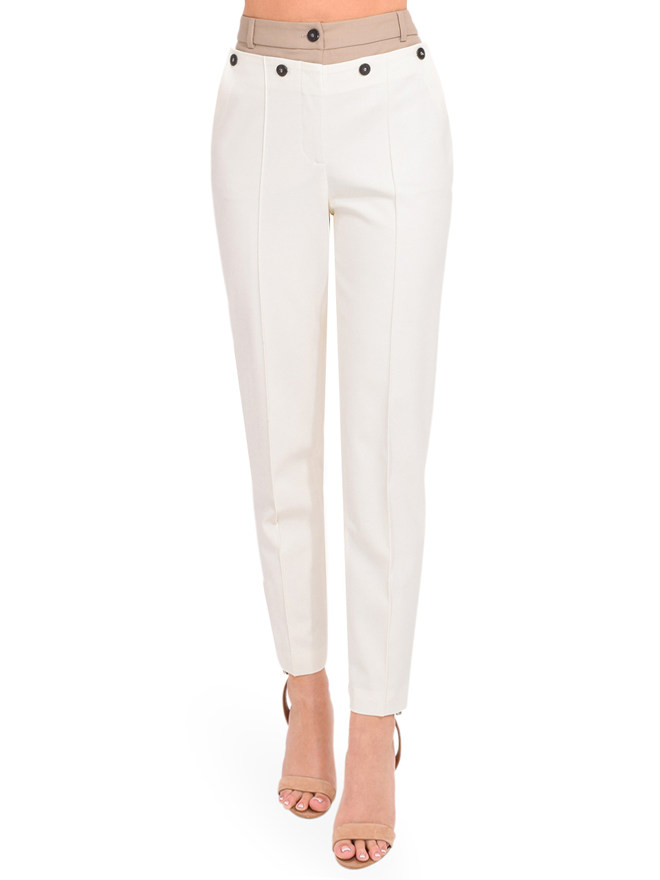 Jonathan Simkhai Spencer Double Front Waist Pant in Papyrus Tan Front View