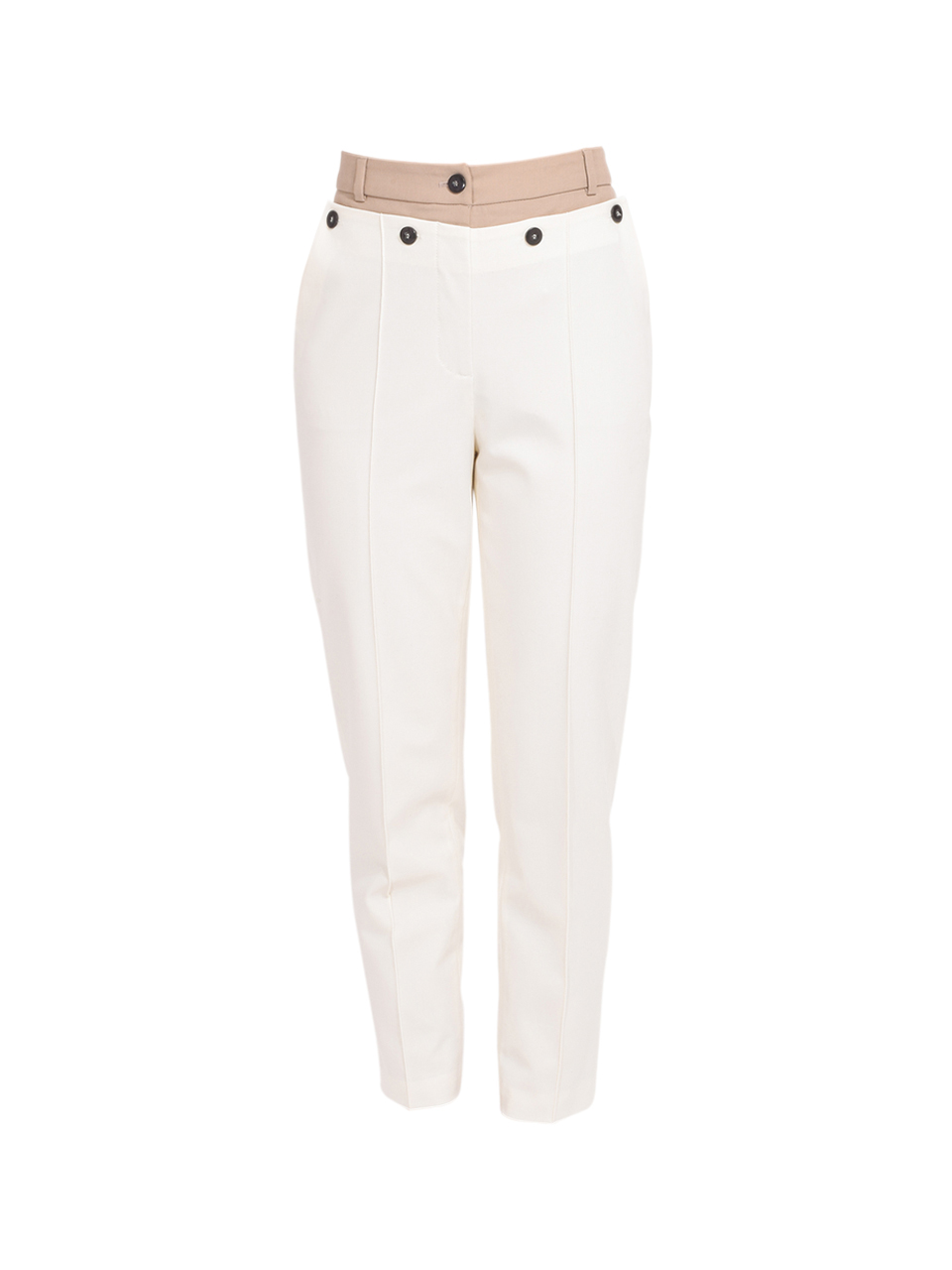 Jonathan Simkhai Spencer Double Front Waist Pant in Papyrus Tan