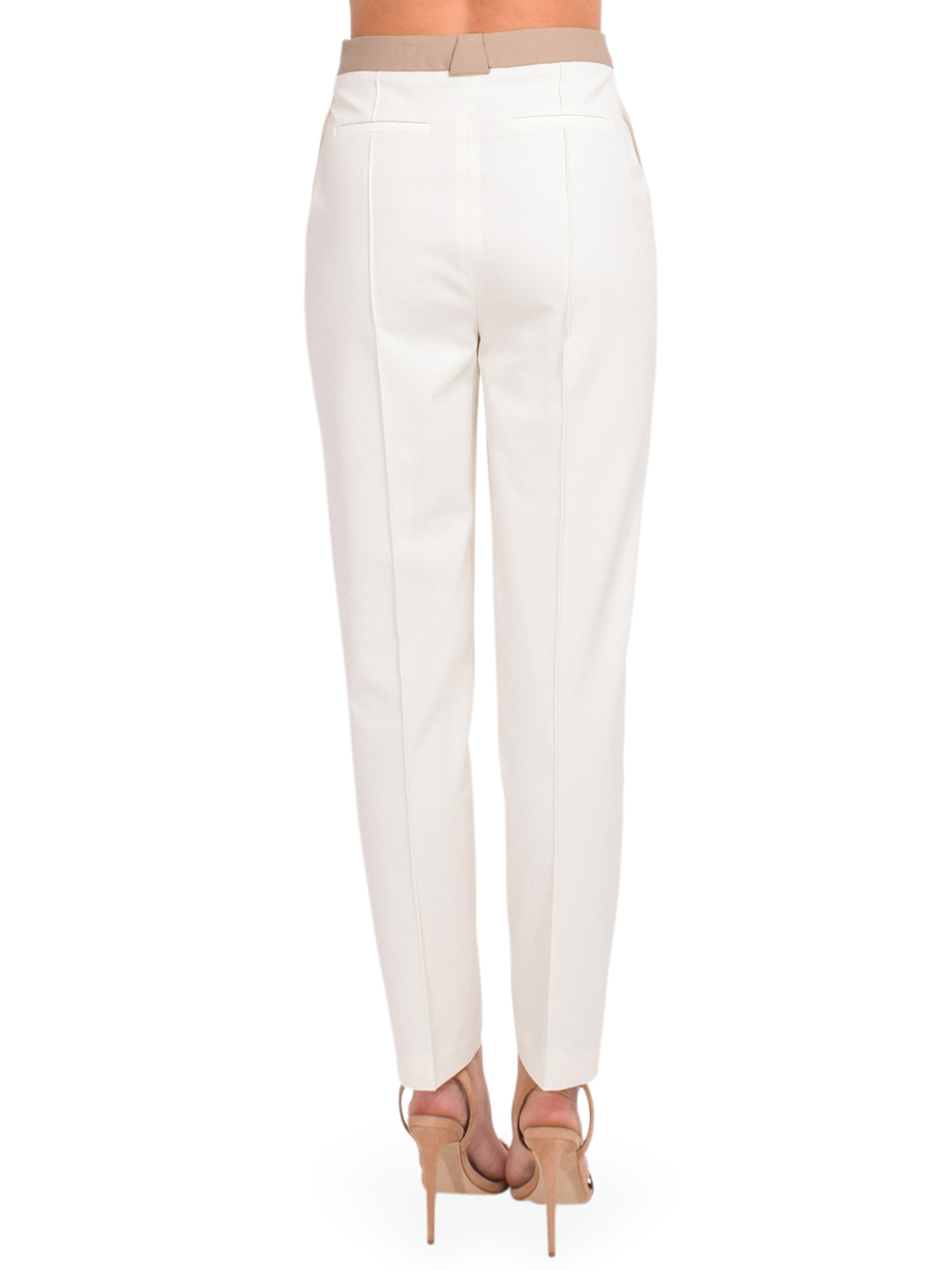 Jonathan Simkhai Spencer Double Front Waist Pant in Papyrus Tan Back View