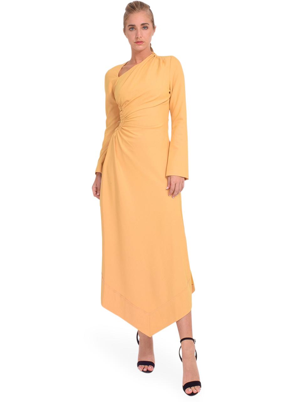 Jonathan Simkhai Christie Draped Cutout Dress in Honey Front View