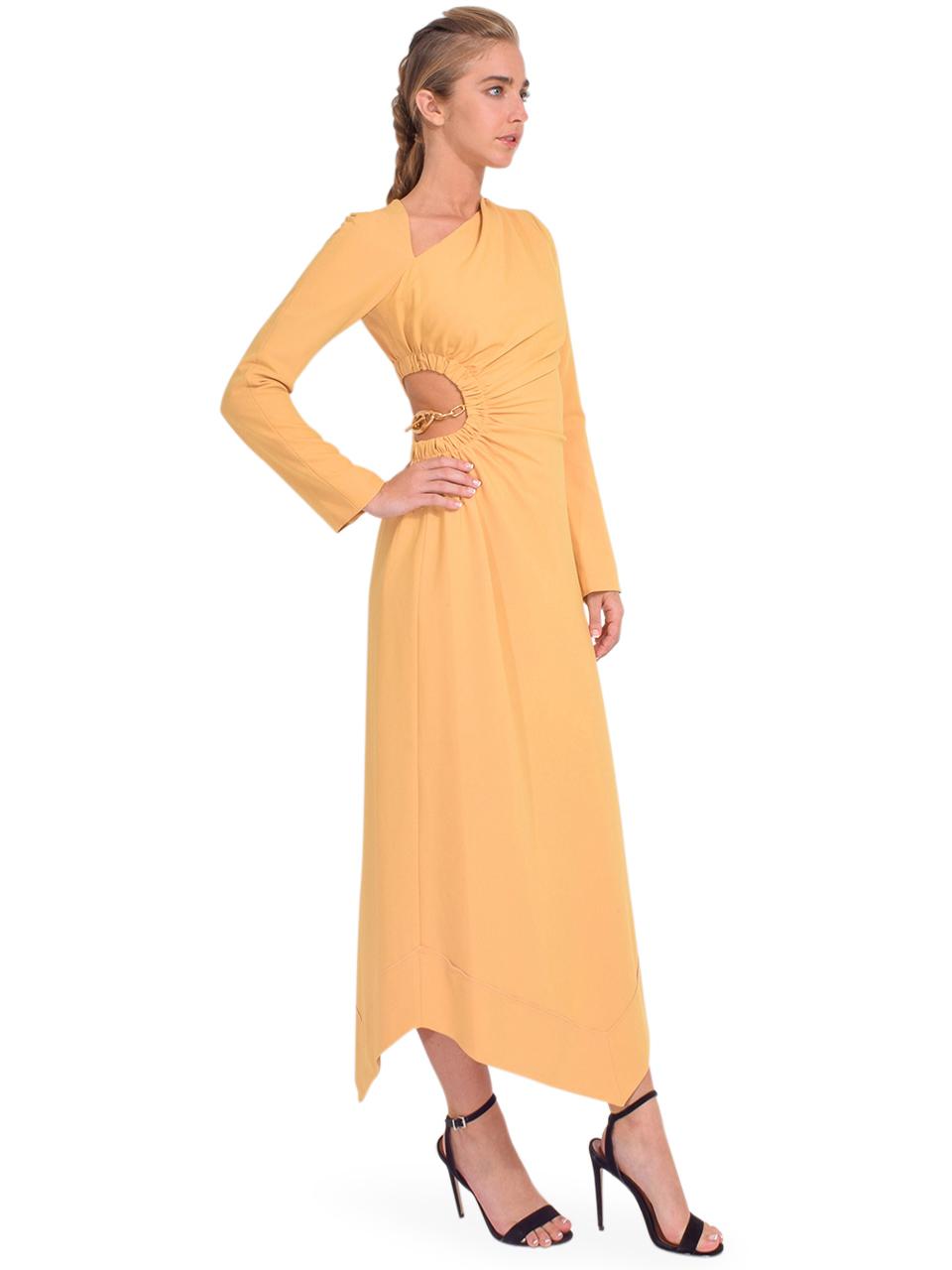 Jonathan Simkhai Christie Draped Cutout Dress in Honey Side View