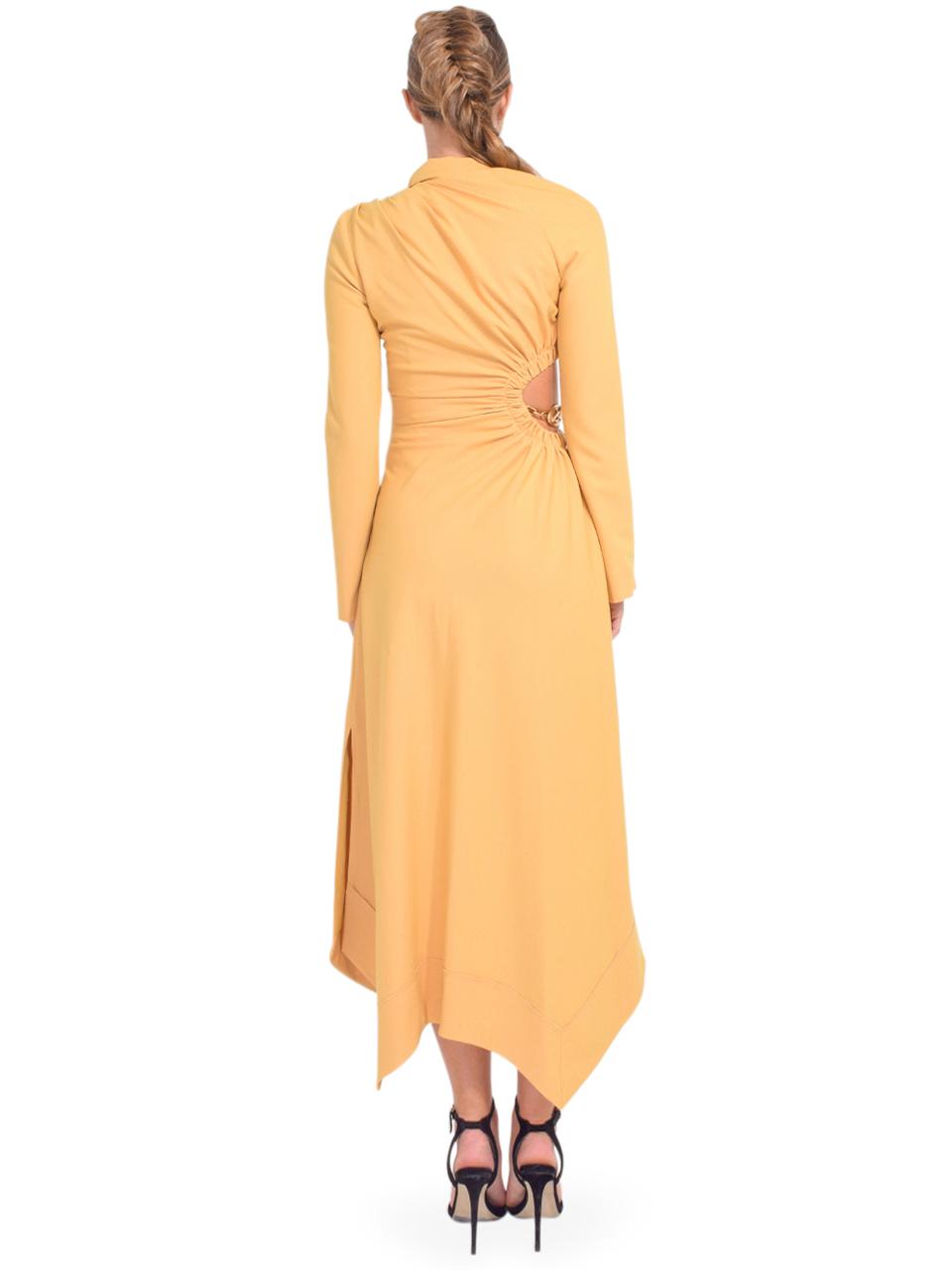 Jonathan Simkhai Christie Draped Cutout Dress in Honey Back View