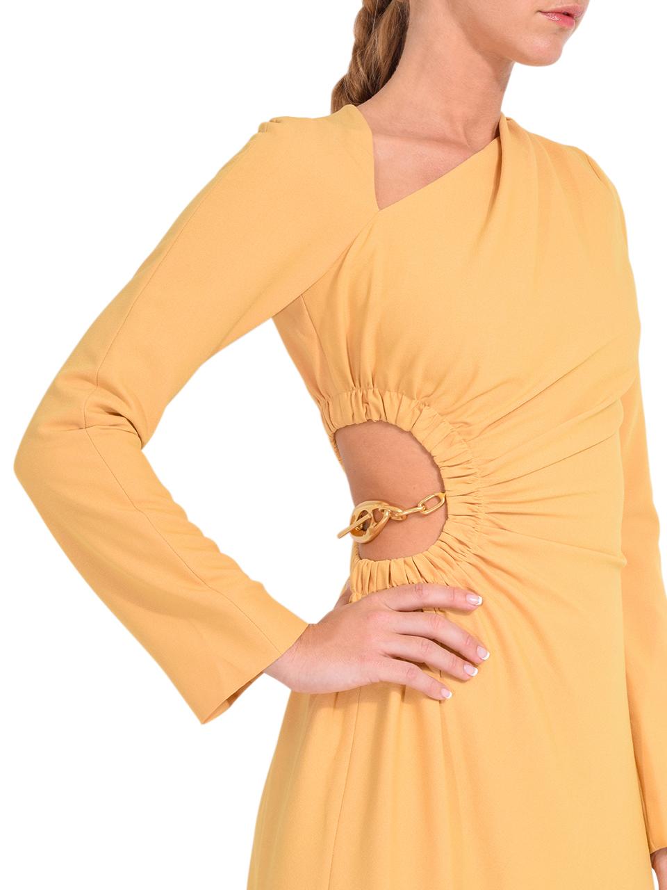 Jonathan Simkhai Christie Draped Cutout Dress in Honey Details