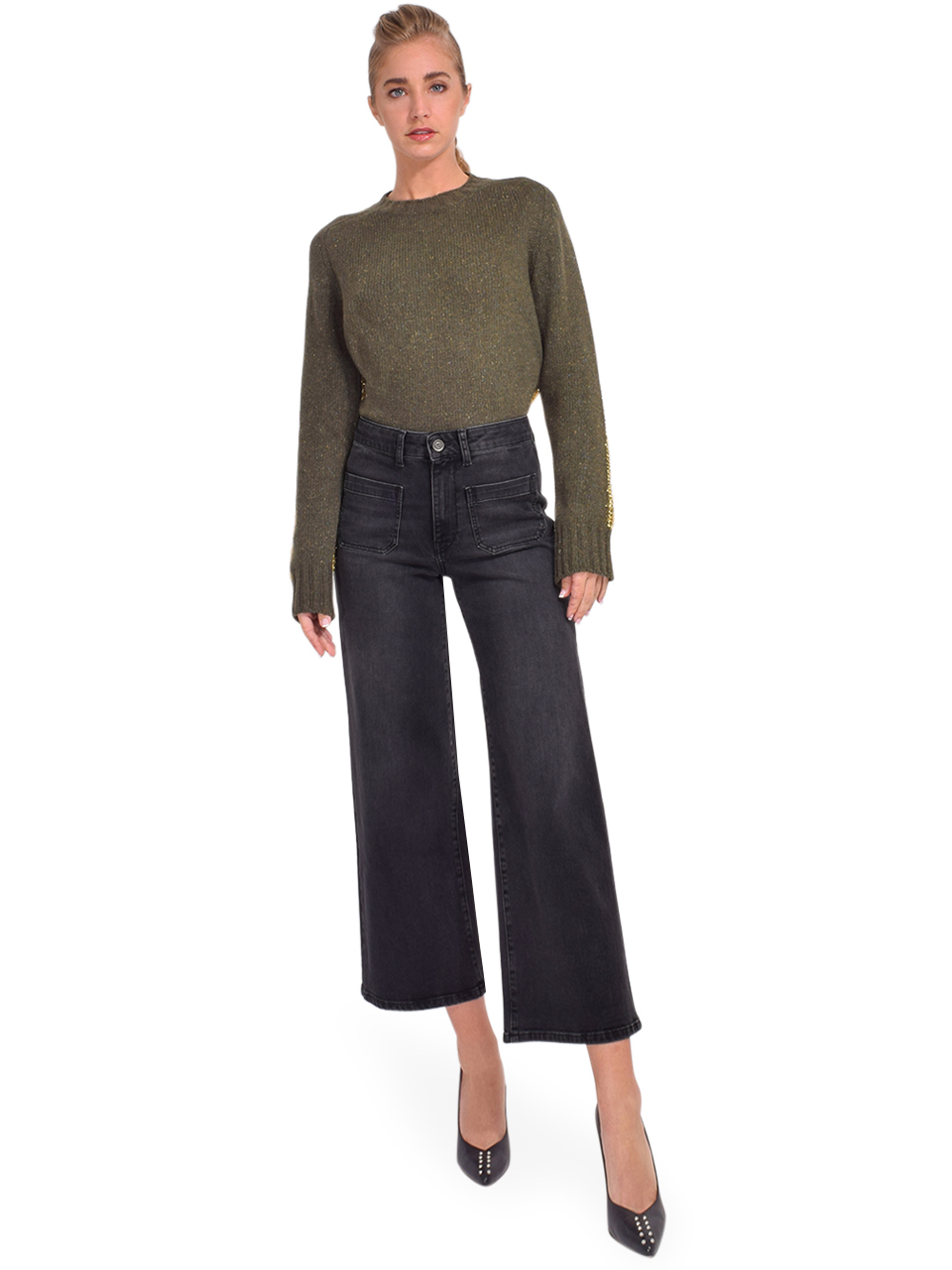 Ottod'Ame Cropped French Jeans in Black Full Outfit
