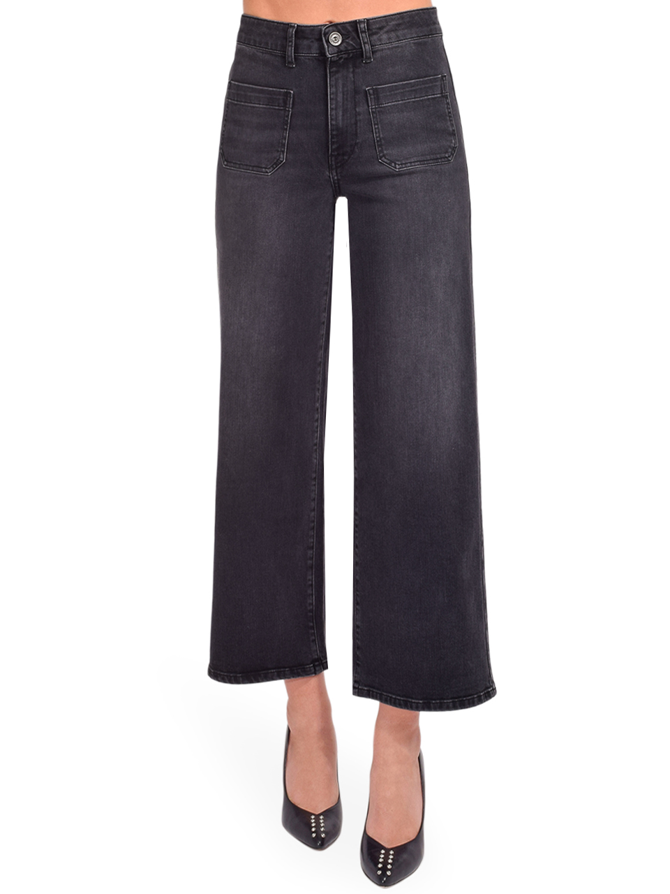 Ottod'Ame Cropped French Jeans in Black Front View