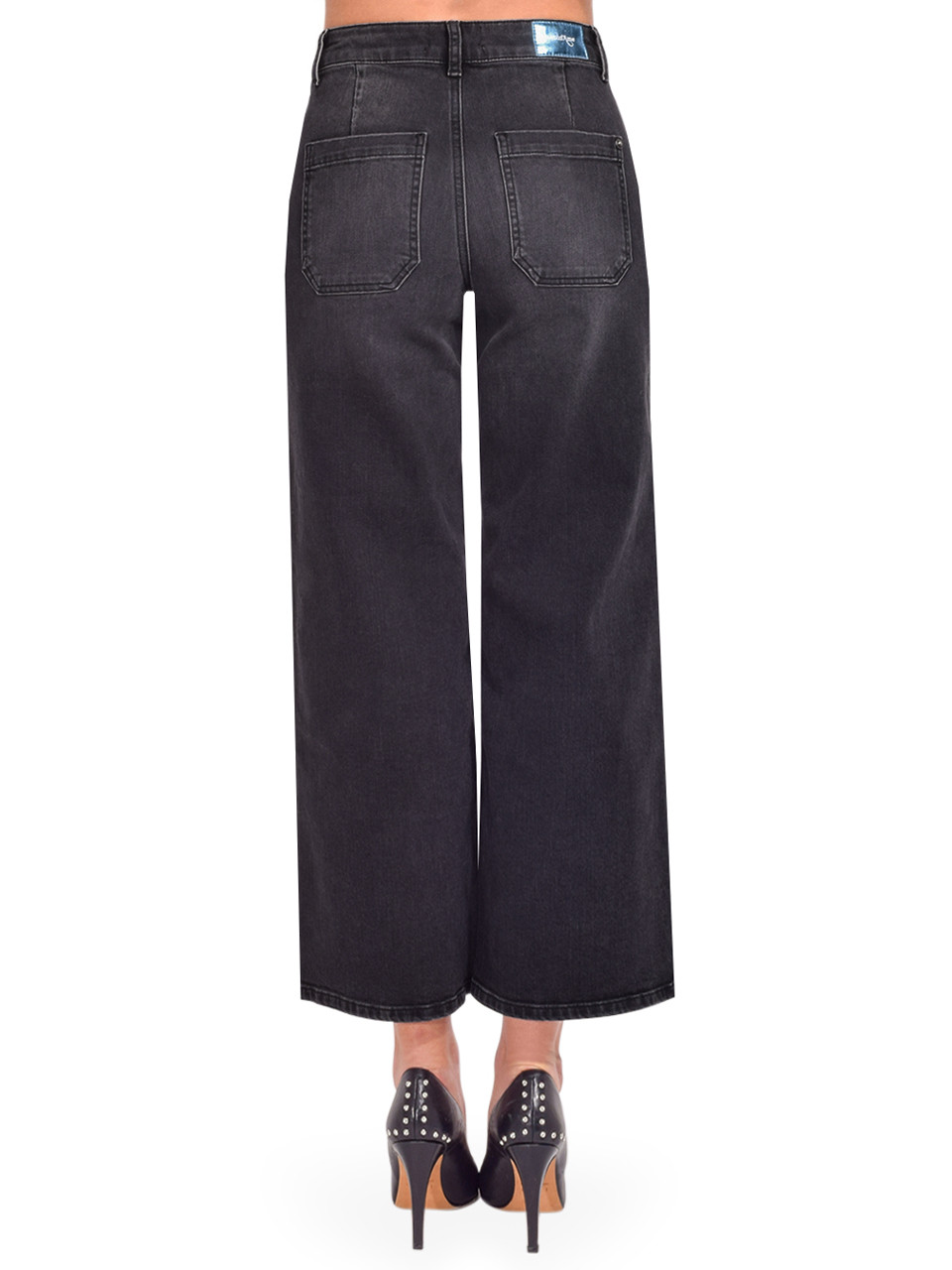 Ottod'Ame Cropped French Jeans in Black Back View