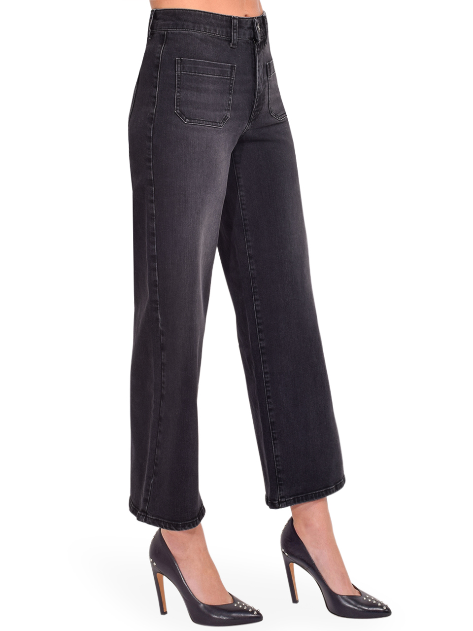 Ottod'Ame Cropped French Jeans in Black Side View