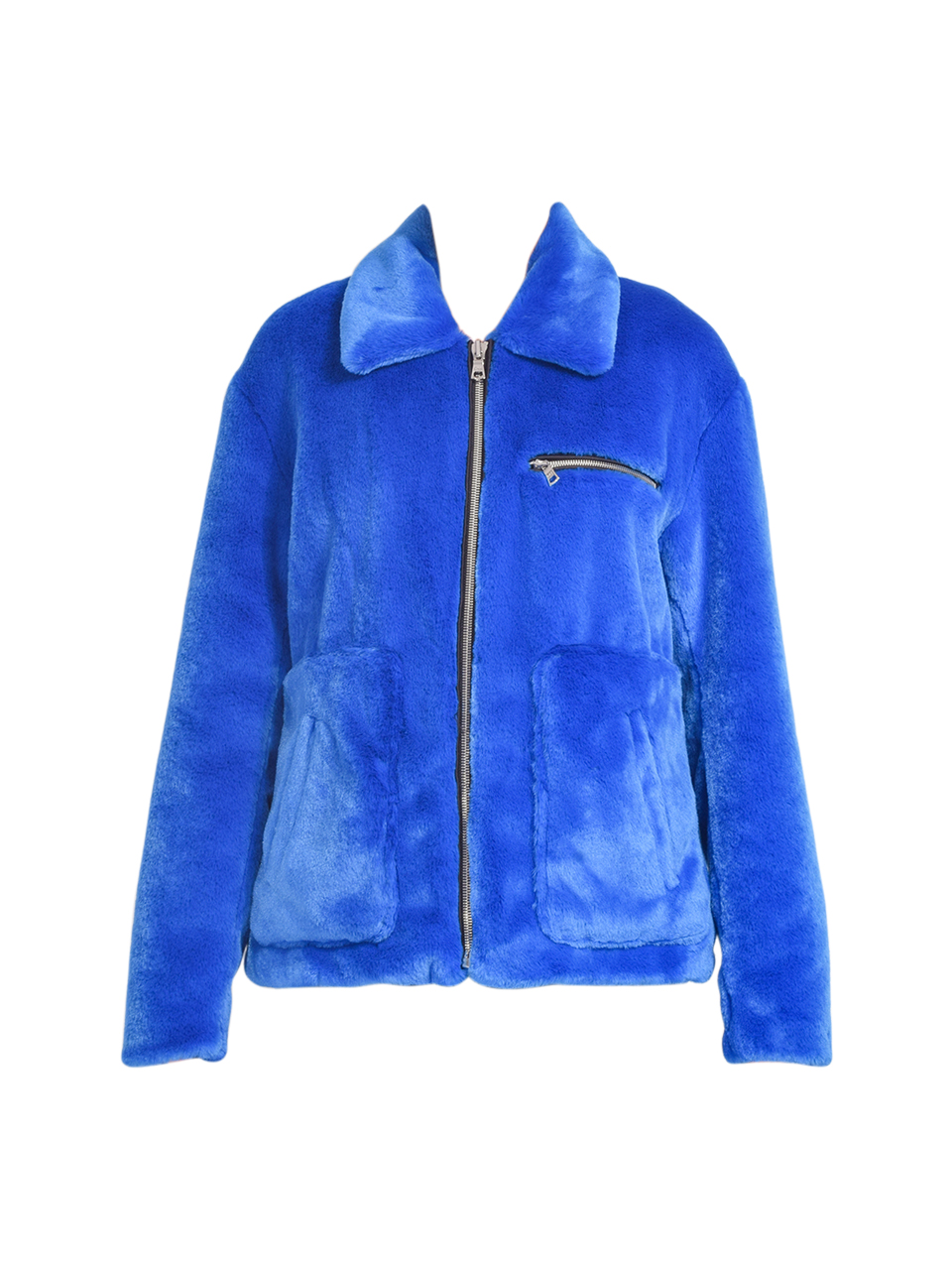 RtA Reese Zip Up Jacket in Magnetic Blue Product Shot