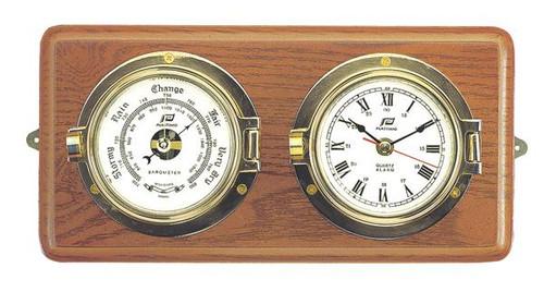 """Plastimo 3"""" Clock & Barometer on Wood"""
