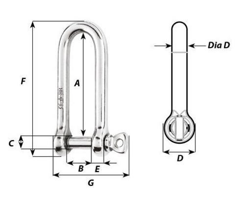 Wichard HR Long D Shackle 10mm (11215)