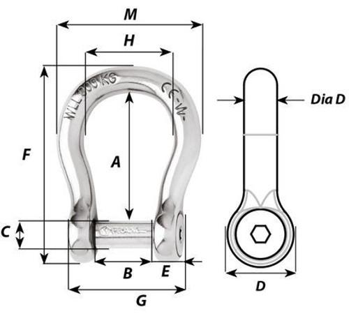 Wichard Self-locking Bow Shackle w/ Allen Head Pin (1343-1346)