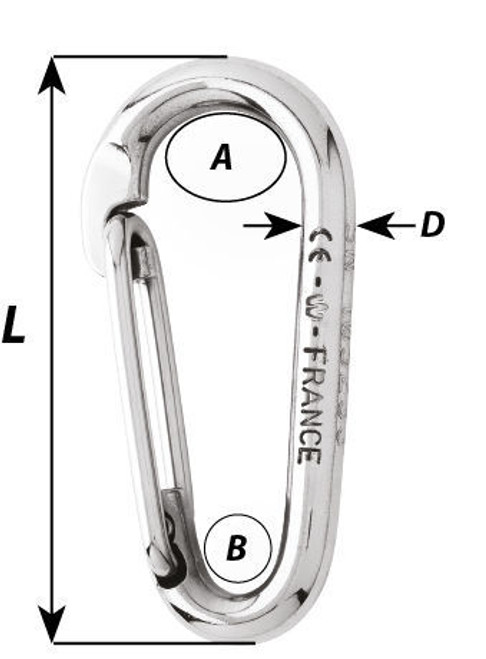 Wichard Symmetric Carbine Hook Without Eye (2333-2337)