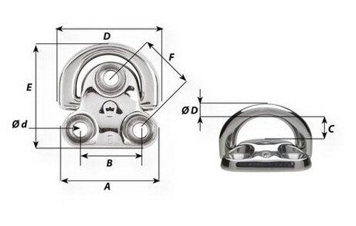Wichard Single Stainless Steel Folding Padeyes (6604-6606)