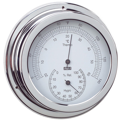 RWB Thermometer & Hygrometer Brass/Chrome 120mm