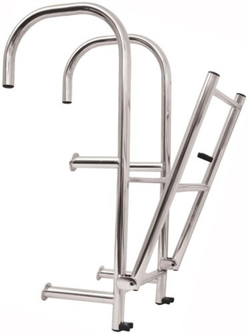 RWB Stainless Steel Step-Thru Ladders 4 Rung Angled Legs/Straight Legs
