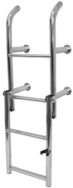 RWB Stainless Steel Open Top Compact Thin Ladders 4 Rung Angled Legs/Straight