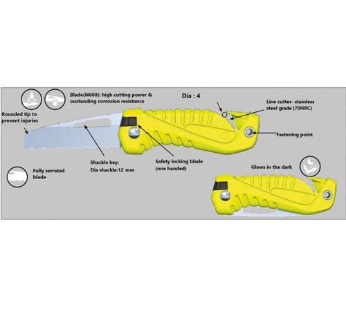 Wichard Fixed Blade Knife Shackle Key Sheath - Fluorescent