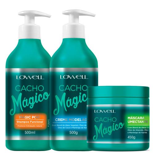 Kit Lowell Cacho Mágico Shampoo Modeler Cream and Humectant Mask