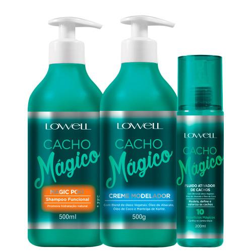 Kit Lowell Cacho Mágico Shampoo Modeler Cream and Curl Activator Fluid