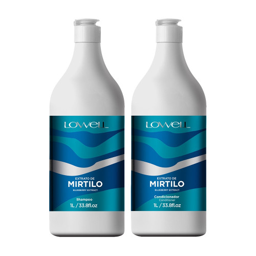 Kit Lowell Mirtilo Blueberry Extract Shampoo Conditioner Hair Care 2x1L/2x33.8fl.oz
