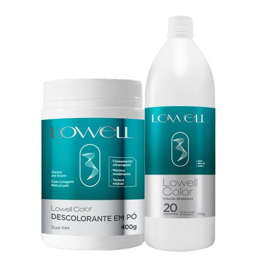 Lowell Color Bleaching Powder + Revealing Emulsion Kit Ox 20 Vol