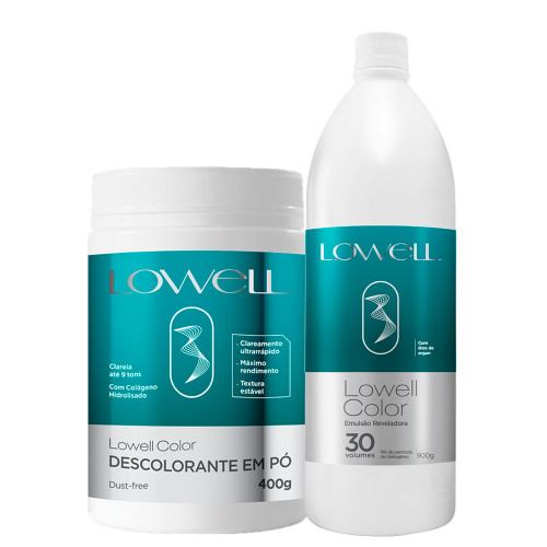 Lowell Color Bleaching Powder + Developing Emulsion Kit Ox 30 Vol