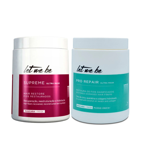 Kit Let Me Be Btox Supreme Hair Restore Pro Repair Restores Damaged Hair Fibers 2x1kg/2x33.8fl.oz