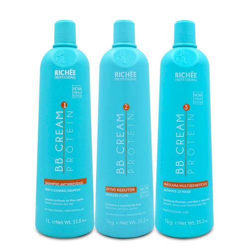 Kit Richee Progressive BB Cream Frizz-Free Naturally Straight Hair Care Alisamento 3x1L/3x33.8fl.oz