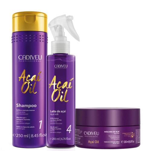 Cadiveu Açaí Oil Kit Hair Maintenance and Hydration Hair Care 3Un Hair Care