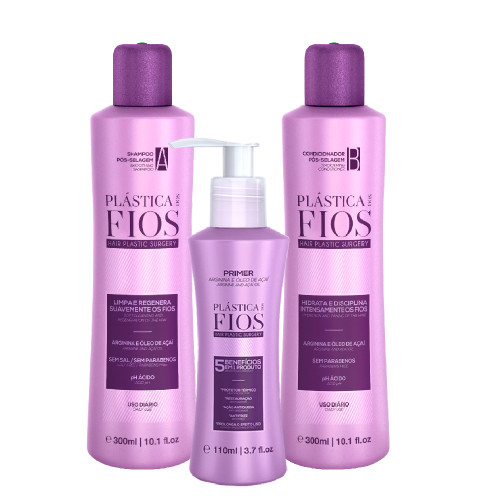Kit Plástica dos Fios Post-Sealing Shampoo Conditioner Primer Leave-In Protector