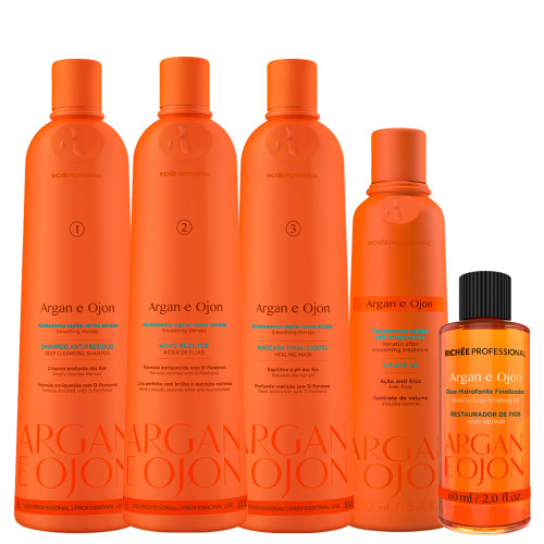 Kit Richée Progressive Argan e Ojon + Leave-in + Moisturizing Finishing Oil Straight Hydrated Hair Care