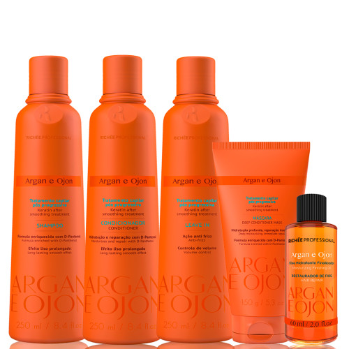 Kit Richée Professional Argan and Ojon Shampoo Conditioner Leave-in Complete Treatment