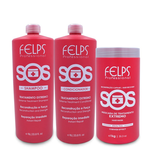 Kit Felps Shampoo Conditioner Mask SOS Extreme Complete Instant Repair Hair Care 3x1L/3x33.8fl.oz