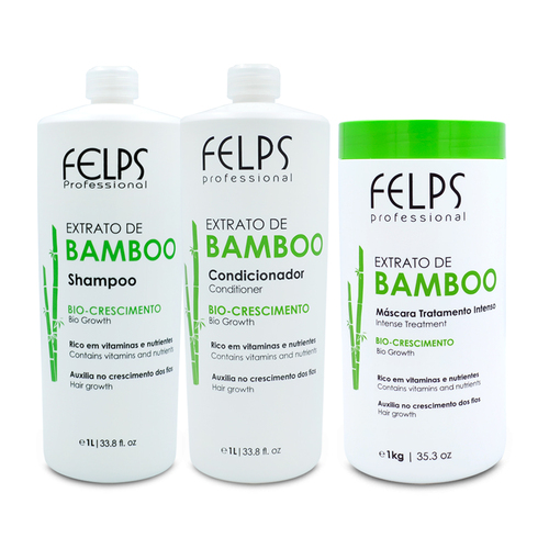 Kit Felps Shampoo Conditioner Mask Bamboo Extract Complete Treatment Hair Care 3x1L/3x33.8fl.oz