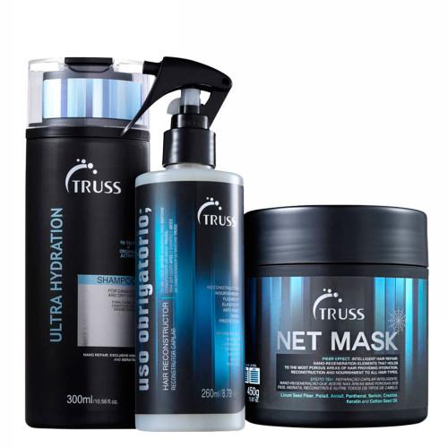 Truss Kit Net Mask + Ultra Hydration Shampoo + Uso Obrigatório Hair Reconstructor